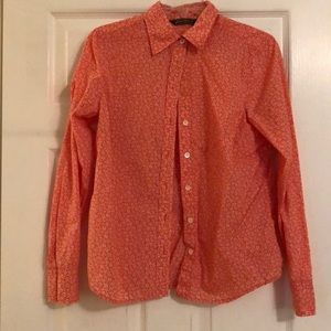 Medium Eddie Bauer Coral Flower Patterned Top